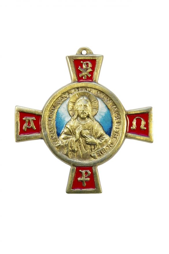 Sacré Cœur : plaque cruciforme en bronze émaillé Le Christ présente son cœur ouvert et bénit de la main droite.