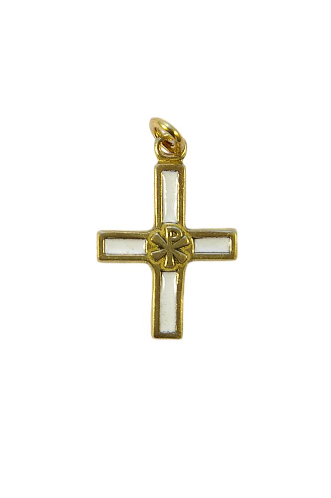 Croix avec chrisme - bijou en pendentif, en bronze émaillé, présentant en son centre le chrisme, le monogramme du Christ.