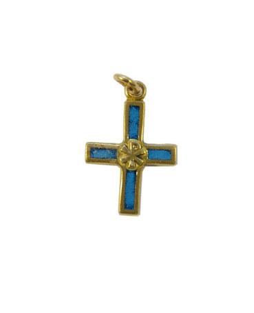 Croix avec chrisme – bijou en pendentif, en bronze émaillé, présentant en son centre le chrisme, le monogramme du Christ.