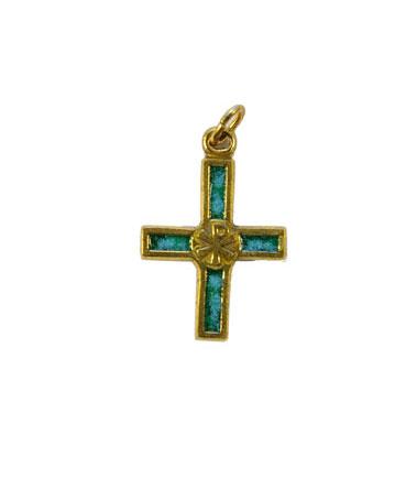 0126-Petite-croix-bijoux-chrisme-vert-2-8-cm
