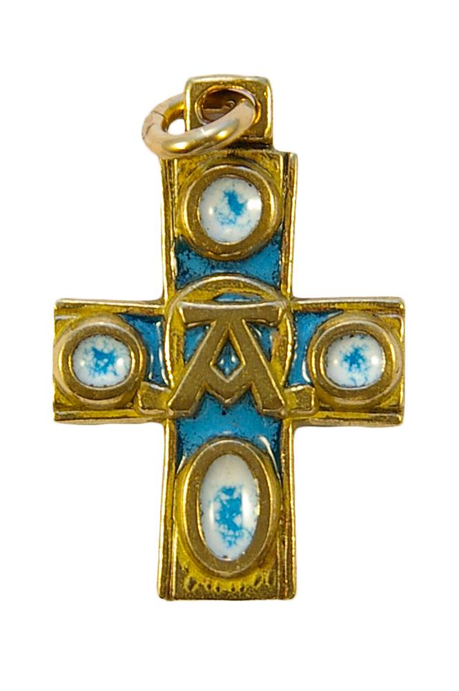 Alpha & Oméga, croix en pendentif, bijou religieux en bronze & émaux grand feu, réalisés conformément à la technique médiévale des émaux limousins.