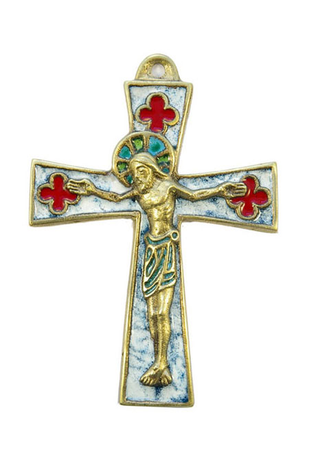 0136-Crucifix-bronze-emaux-blanc-11-5-cm