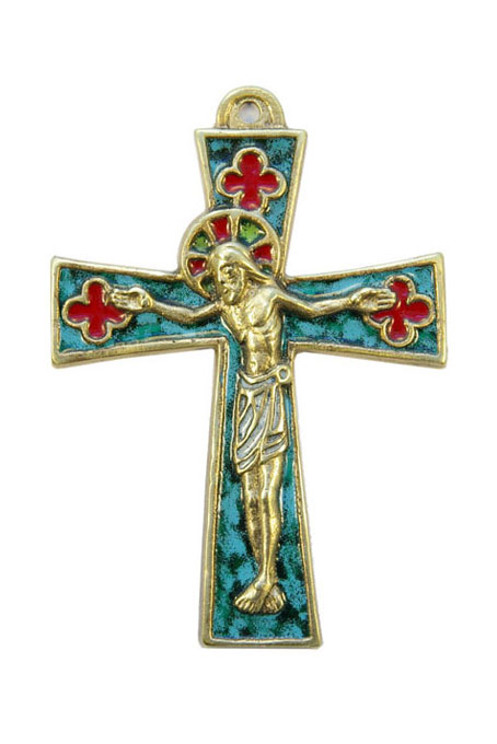 0136-Crucifix-bronze-emaux-vert-11-5-cm