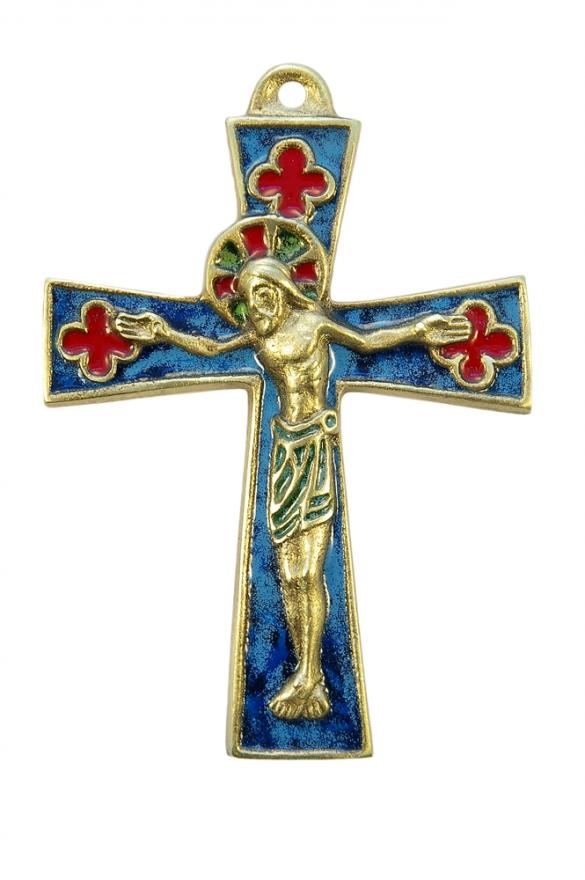 Crucifix médiéval sur croix pattée & quadrilobes – bronze, émaux grand feu