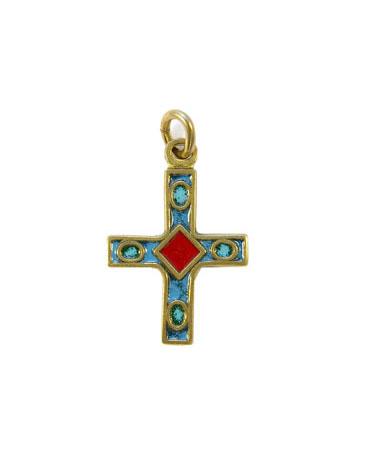 Petite croix médiévale en pendentif – bronze & émaux grand feu – Piéchaud