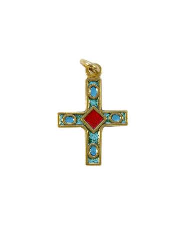 0137-Petite-croix-pendentif-vert-2-7cm