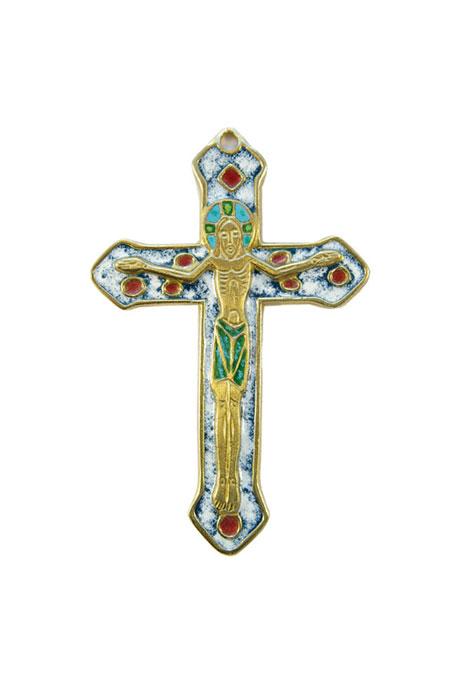 0138-Crucifix-croix-murale-emaillee-blanc-bleu-bronze-emaux-9-cm