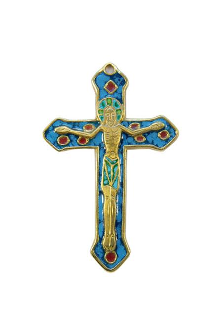 0138-Crucifix-croix-murale-emaillee-bleu-bronze-emaux-9-cm