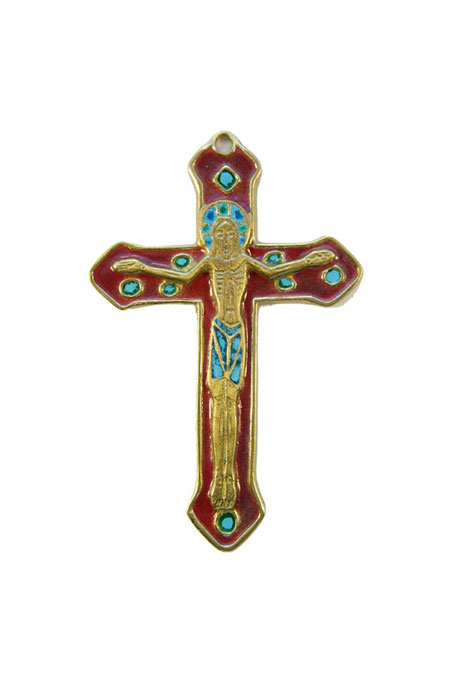 0138-Crucifix-croix-murale-emaillee-rouge-bronze-emaux-9-cm