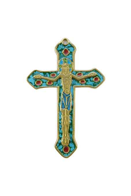 0138-Crucifix-croix-murale-emaillee-vert-bronze-emaux-9-cm