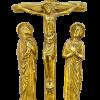 Grand calvaire sculpté, en bronze patiné. Crucifixion avec Marie et Jean