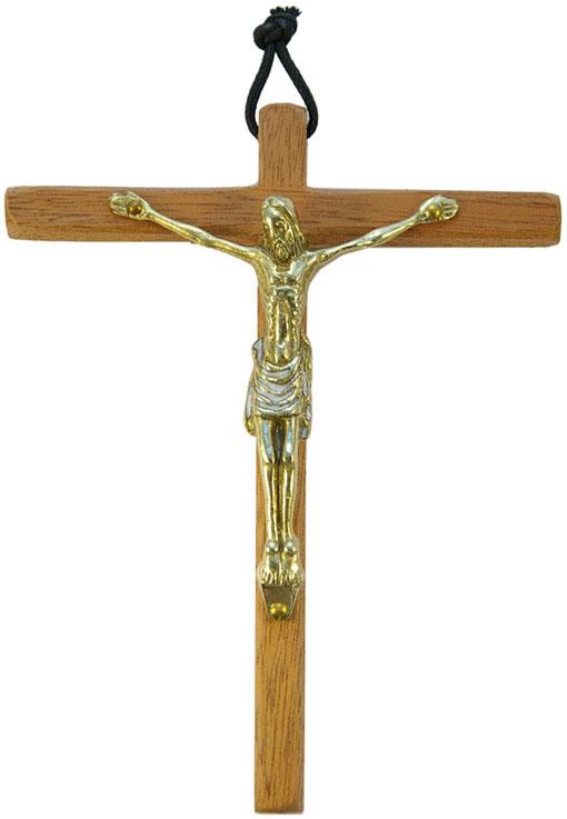 0153-Christ-bronze-email-blanc-croix-bois-15cm