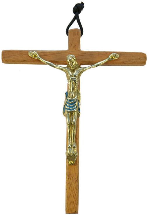 0153-Christ-bronze-email-bleu-croix-bois-15cm