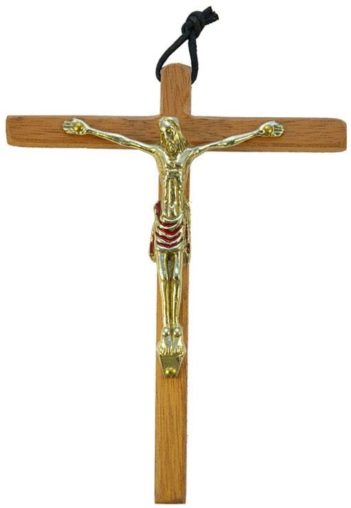 0153-Christ-bronze-email-rouge-croix-bois-15cm