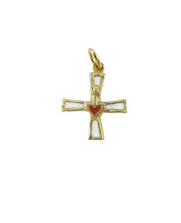 Sacré-Coeur sur une croix en pendentif.  Bijou religieux en bronze véritable et émaux grand feu.