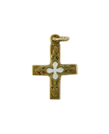 0161-Petite-croix-bijou-religieux-fleur-lys-blanc-3cm