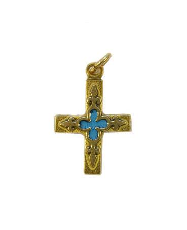0161-Petite-croix-bijou-religieux-fleur-lys-bleue-3cm