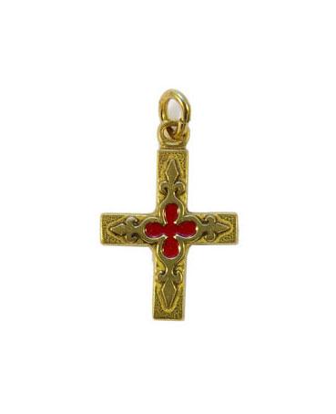 0161-Petite-croix-bijou-religieux-fleur-lys-rouge-3cm
