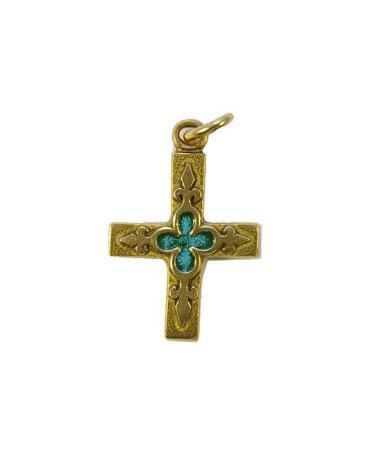 0161-Petite-croix-bijou-religieux-fleur-lys-vert-3cm