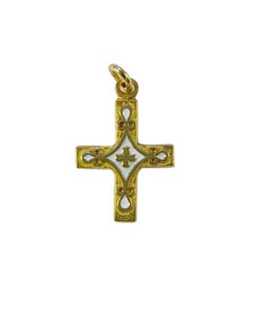 Croix en pendentif Trèfle et cabochons, bijou médiéval