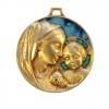 Médaillon de naissance en bronze émaillé Vierge à l'Enfant. Le Christ tient dans ses mains le globe terrestre. Très belle médaille de berceau.