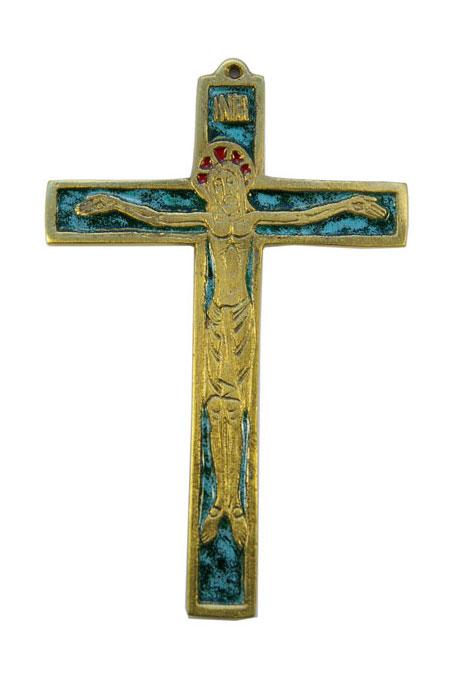020-Crucifix-emaux-vert-12-5cm