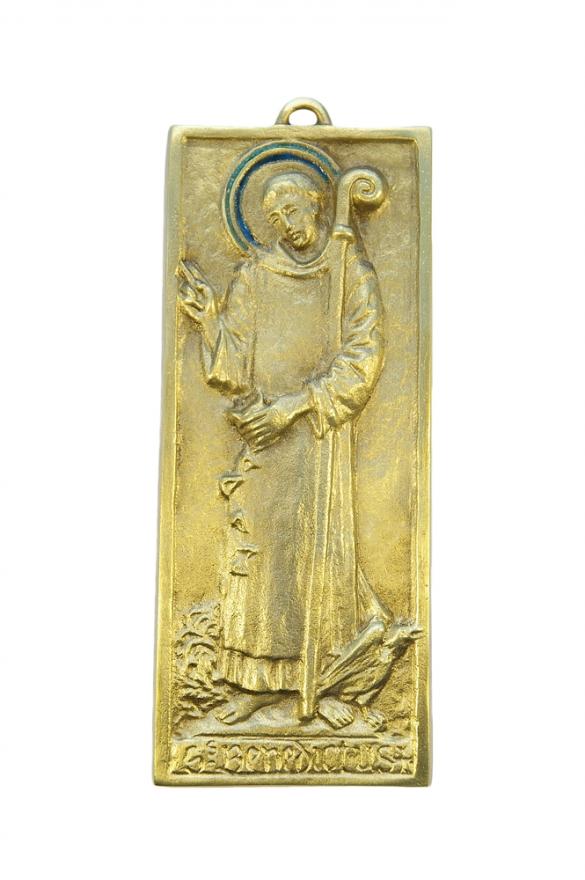 Grande plaque murale représentant saint Benoît, en bronze émaillé.