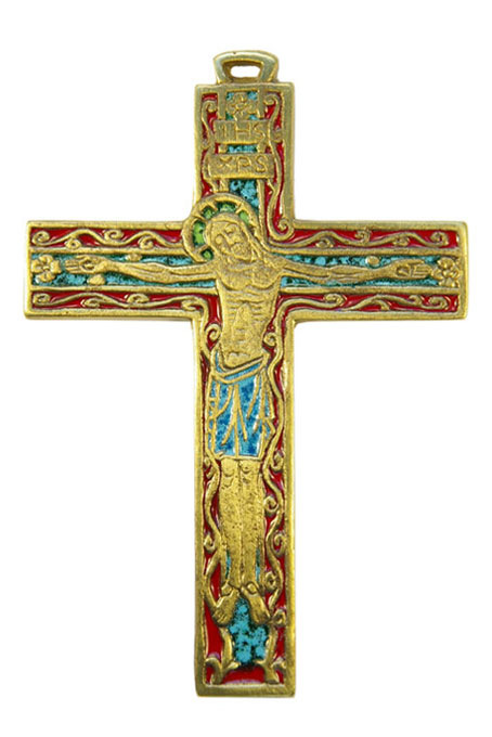 033-Crucifix-decors-volutes-emaux-fond-rouge-13-5cm