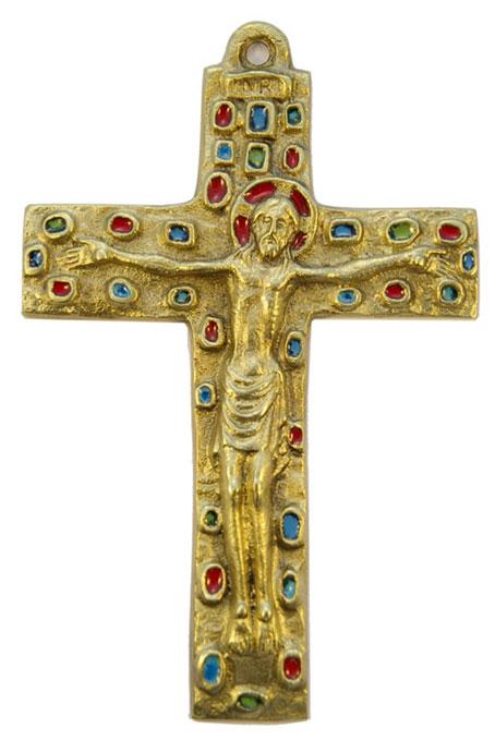 045-Crucifix-bronze-emaux-objet-culte-15cm