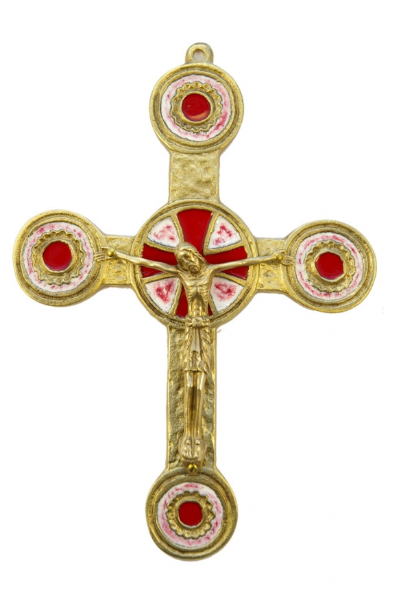 074-90-Crucifix-bronze-emaux-rouge-19-cm