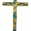 INRI - Crucifix mural en bronze véritable émaillé, d'inspiration médiévale et présentant le christogramme INRI. Les cinq plaies du Christ sont émaillées de rouge vif. Le périzonium du Christ est quant à lui émaillé en vert.