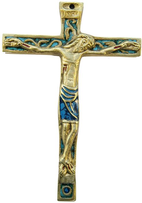 Crucifix mural en bronze véritable émaillé, d'inspiration médiévale et présentant le christogramme INRI. Les cinq plaies du Christ sont émaillées de rouge vif. Le périzonium du Christ est quant à lui émaillé en vert.