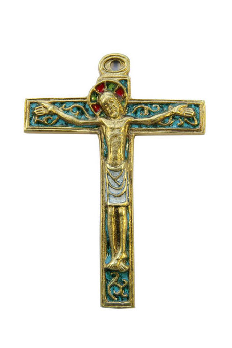Crucifix mural sur croix latine avec volutes baroques, en bronze orné d'émaux grand feu