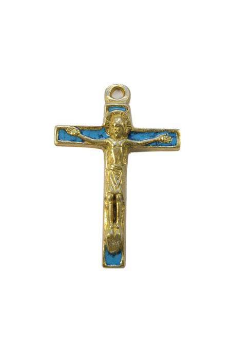 290-Christ-bronze-emaux-bleu-7-5cm