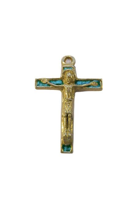 290-Christ-bronze-emaux-vert-7-5cm