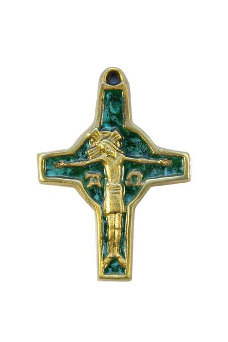 310-Crucifix-symboles-emaux-vert-cadeau-religieux-9cm
