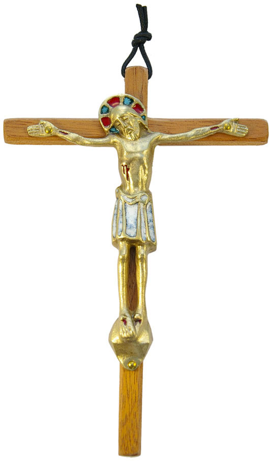 530-Christ-bronze-email-blanc-croix-bois-18cm