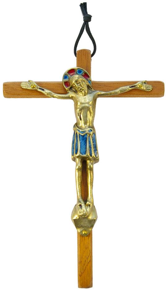 530-Christ-bronze-email-bleu-croix-bois-18cm