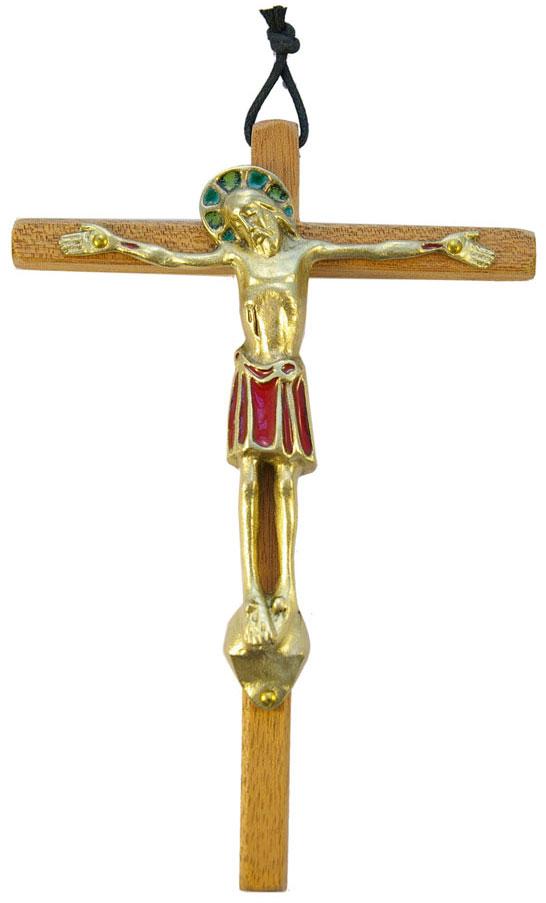 530-Christ-bronze-email-rouge-croix-bois-18cm