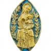 Mandorle médiévale de la Vierge à l'Enfant - plaque en bronze sculpté et émaillé