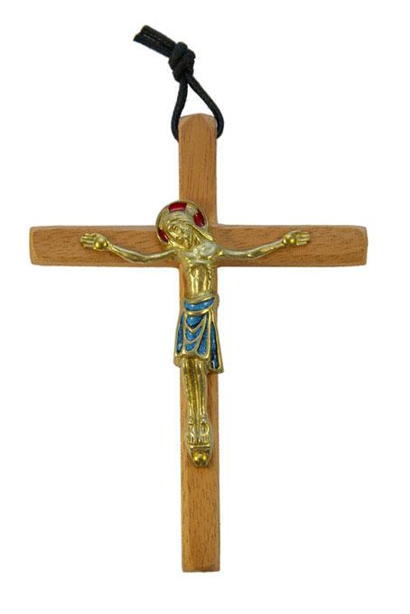 800-Crucifix-mural-bronze-emaux-bleu-croix-bois-12-5cm