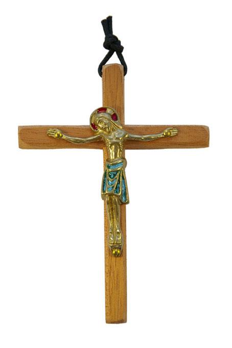 800-Crucifix-mural-bronze-emaux-vert-croix-bois-12-5cm