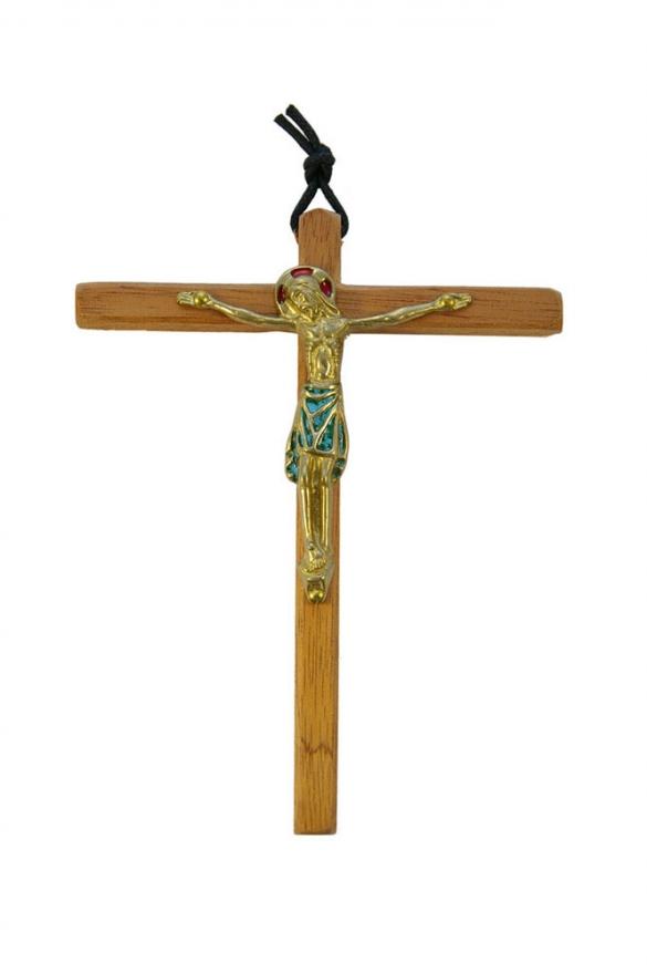 810-Christ-emaille-vert-cadeau-pretre-14-5cm