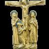 Calvaire sculpté, en bronze et émaux. Crucifixion avec Marie, Jean & Marie-Madeleine