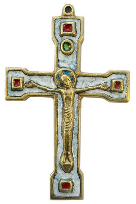 889-Crucifix-bronze-email-blanc-15cm