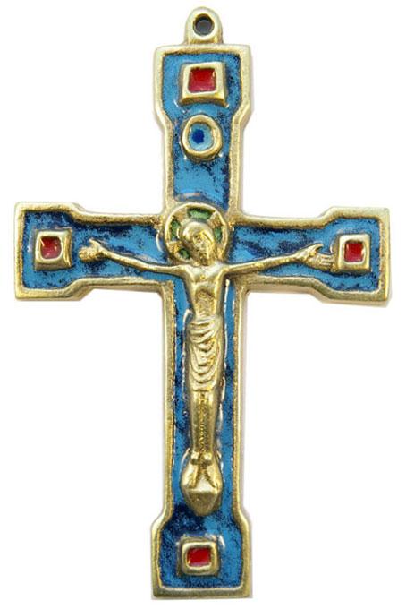 889-Crucifix-bronze-email-bleu-15cm