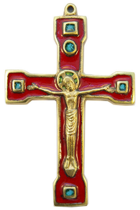 889-Crucifix-bronze-email-rouge-15cm
