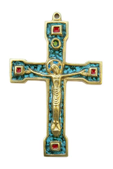 889-Crucifix-bronze-email-vert-15cm