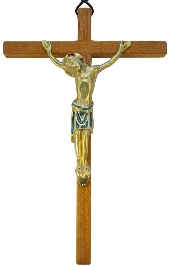 893-grand-christ-mural-bois-bronze-email-bleu-24cm