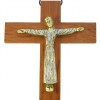 Christ en robe, d'inspiration romane - bronze émaillé sur croix murale en bois haute de 19 cm